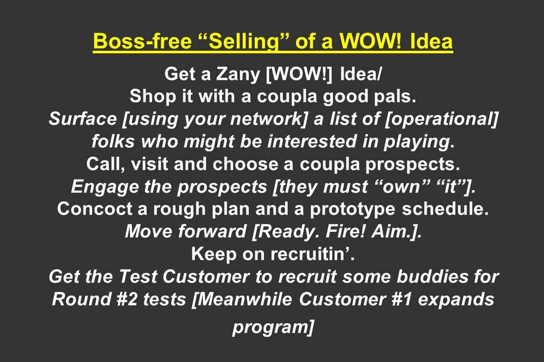 Boss-free Selling of a WOW. Idea Get a Zany [WOW